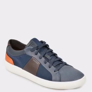 Pantofi GEOX bleumarin, U926Hb, din piele naturala si material textil