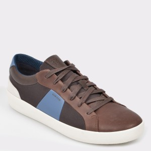 Pantofi GEOX maro, U926Hb, dinpiele naturala si material textil