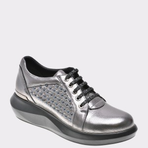Pantofi Flavia Passini Gri, 187, Din Piele Naturala