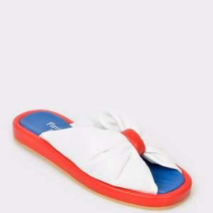 Papuci FLAVIA PASSINI albi, 28559, din piele naturala