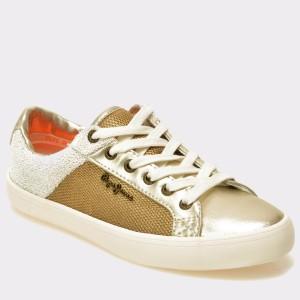 Pantofi Sport Pepe Jeans Aurii, Ls30466, Din Piele Ecologica Si Material Textil