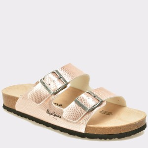 Papuci Pepe Jeans Aurii, Ls90260, Din Piele Ecologica