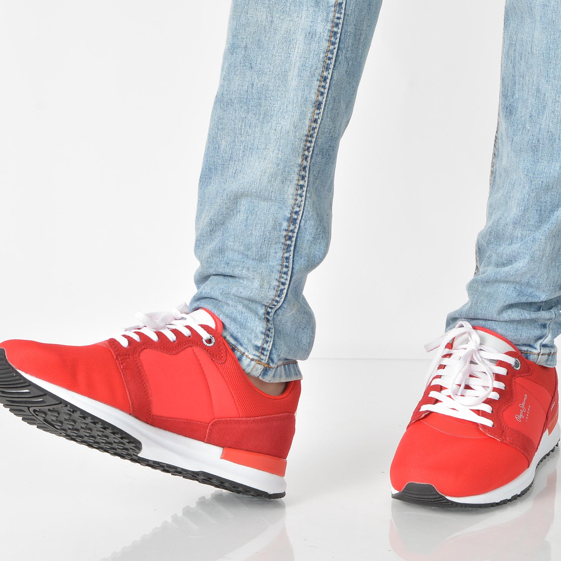 Pantofi Sport Pepe Jeans Rosii, Ms30416, Din Material Textil