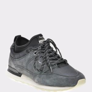 Pantofi sport PEPE JEANS negri, Ms30474, din piele intoarsa si material textil