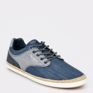 Pantofi sport PEPE JEANS albastrii, Ms10274, din material textil si piele naturala