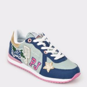 Pantofi sport pentru copii PEPE JEANS albastrii, Gs30392, din material textil