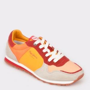 Pantofi sport PEPE JEANS portocalii, Ls30796, din material textil