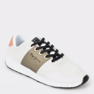 Pantofi sport PEPE JEANS albi, Ls30841, din material textil
