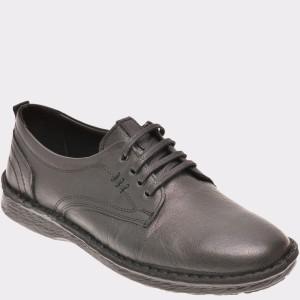 Pantofi Otter Negri, M4829, Din Piele Naturala