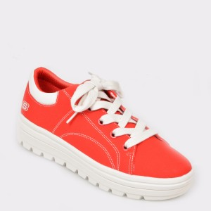 Pantofi sport SKECHERS rosii, 74100, din piele ecologica