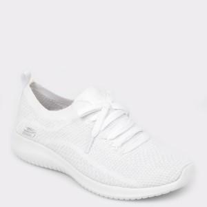 Pantofi sport SKECHERS albi, 12843, din material textil