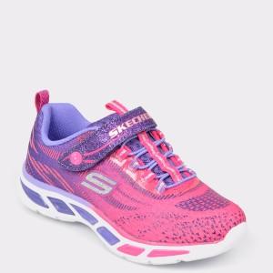 Pantofi sport pentru copii SKECHERS roz, 10667L, din material textil