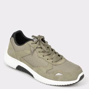 Pantofi sport SKECHERS kaki, 52518, din piele intoarsa si material textil