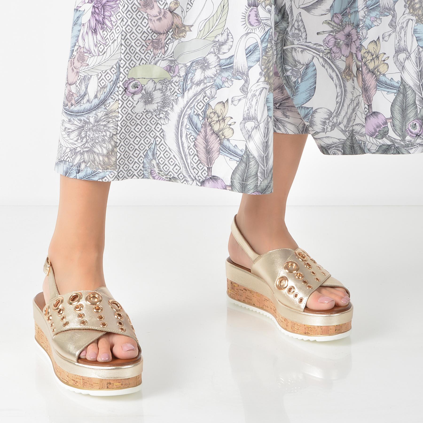 Sandale IMAGE aurii, 8836, din piele naturala