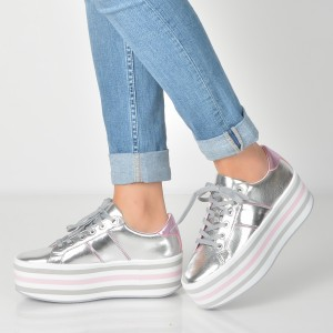 Pantofi ALDO argintii, Nydoilia, din piele ecologica