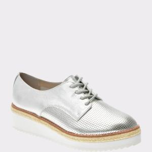 Pantofi Aldo Argintii, Harber, Din Piele Naturala