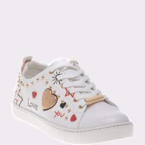 Pantofi ALDO albi, Sponaugle, din piele ecologica