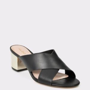 Papuci ALDO negre, Larusa din piele ecologica