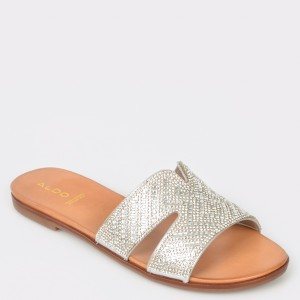 Papuci ALDO argintii, Etenawiel, din piele ecologica