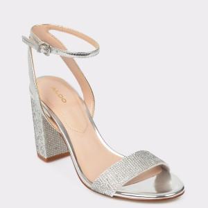 Sandale ALDO argintii, Agriedia, din piele ecologica
