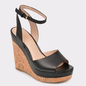 Sandale ALDO negre, Adruwien, din piele naturala
