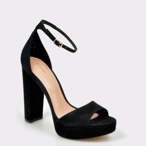 Sandale ALDO negre, Paeria, din piele intoarsa