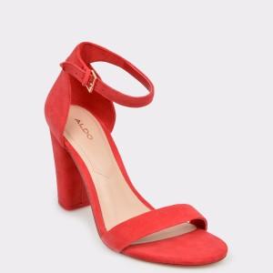 Sandale ALDO rosii, Jerayclya, din piele intoarsa