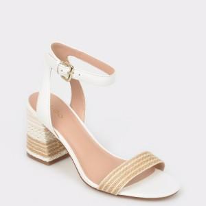 Sandale ALDO albe, Gweilian, din piele naturala