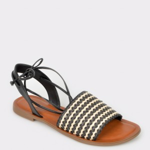 Sandale ALDO alb-negre, Raevyan, din piele naturala