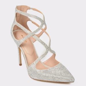 Pantofi ALDO argintii, Ringwen, din material textil
