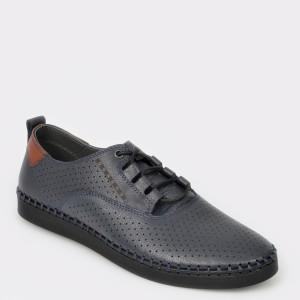 Pantofi Otter Bleumarin, 2873, Din Piele Naturala