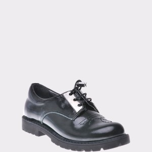 Pantofi Pentru Copii Selections Kids Negri, P2357, Din Piele Intoarsa