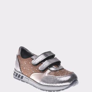 Pantofi Pentru Copii Selections Kids Argintii, P2861, Din Piele Naturala
