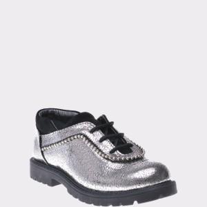 Pantofi Pentru Copii Selections Kids Argintii, P2905, Din Piele Naturala