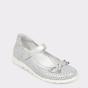 Pantofi pentru copii SELECTIONS KIDS argintii, 3016, din piele naturala