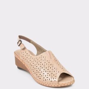 Sandale RIEKER nude, 66185, din piele naturala