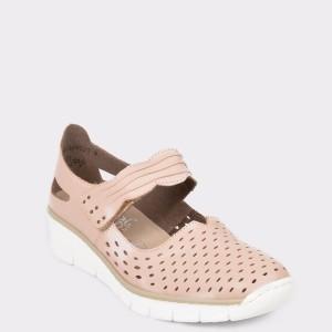 Pantofi RIEKER roz, 537J7, din piele naturala