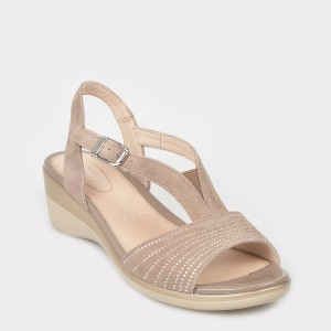 Sandale STONEFLY bej, Vanii17, din piele intoarsa