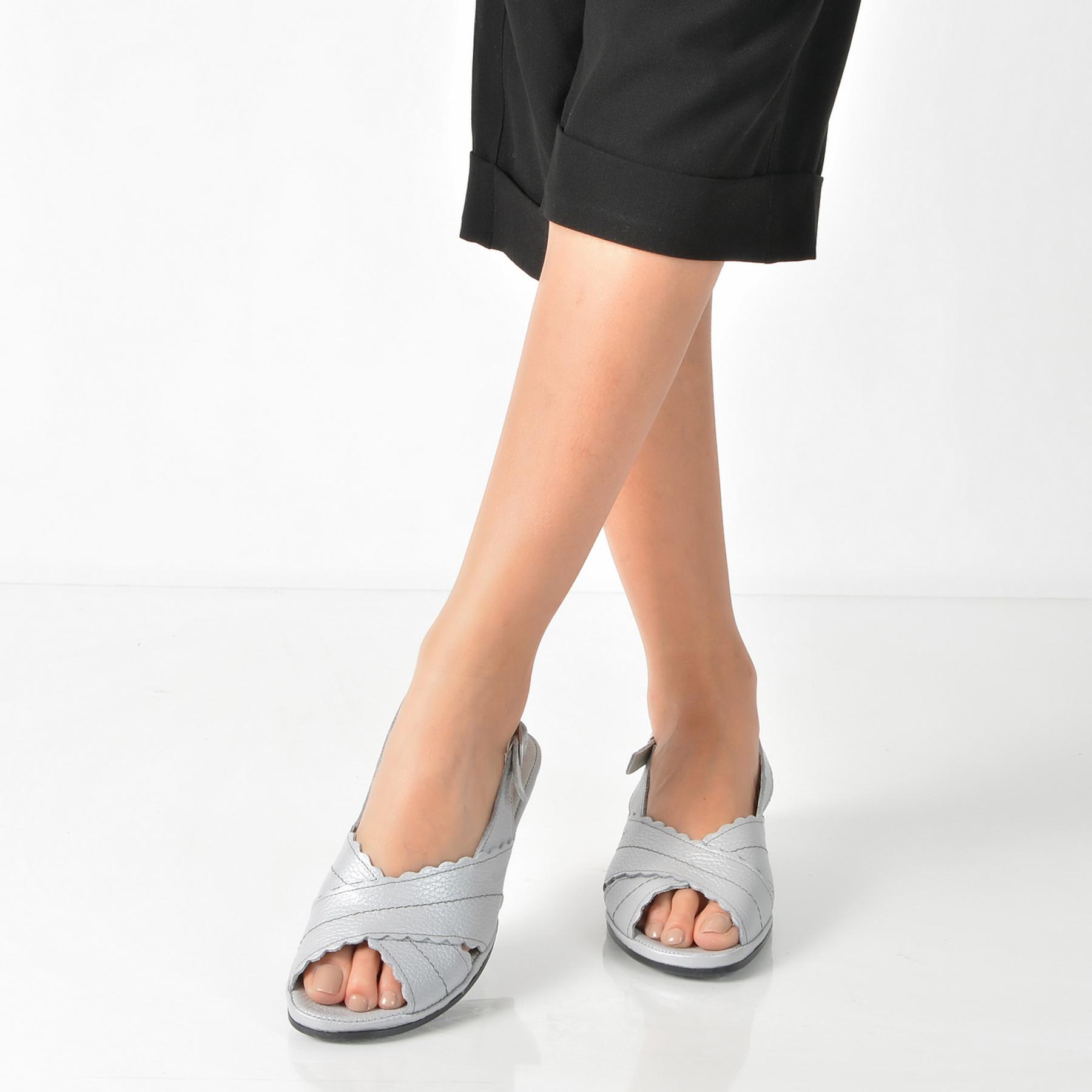Sandale Suave Gri, 0817t, Din Piele Naturala
