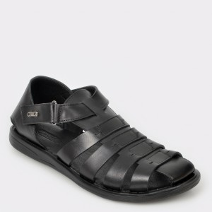 Sandale OTTER negre, 17455, din piele naturala