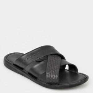 Papuci OTTER negri, 17245, din piele naturala
