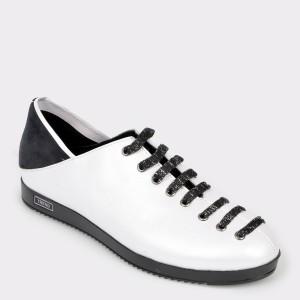 Pantofi FLAVIA PASSINI albi, Bl3184, din piele naturala si material textil