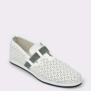 Pantofi Flavia Passini Albi, Cb9265, Din Piele Naturala