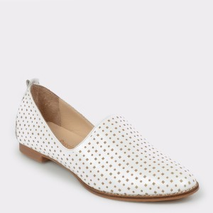 Pantofi FLAVIA PASSINI albi, Dl678, din piele naturala