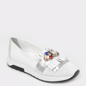 Pantofi FLAVIA PASSINI albi, Nb017, din piele naturala