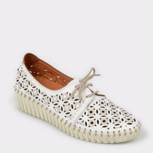 Pantofi FLAVIA PASSINI albi, Fl3021, din piele naturala