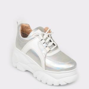 Pantofi sport FLAVIA PASSINI argintii, Mg0267, din piele naturala