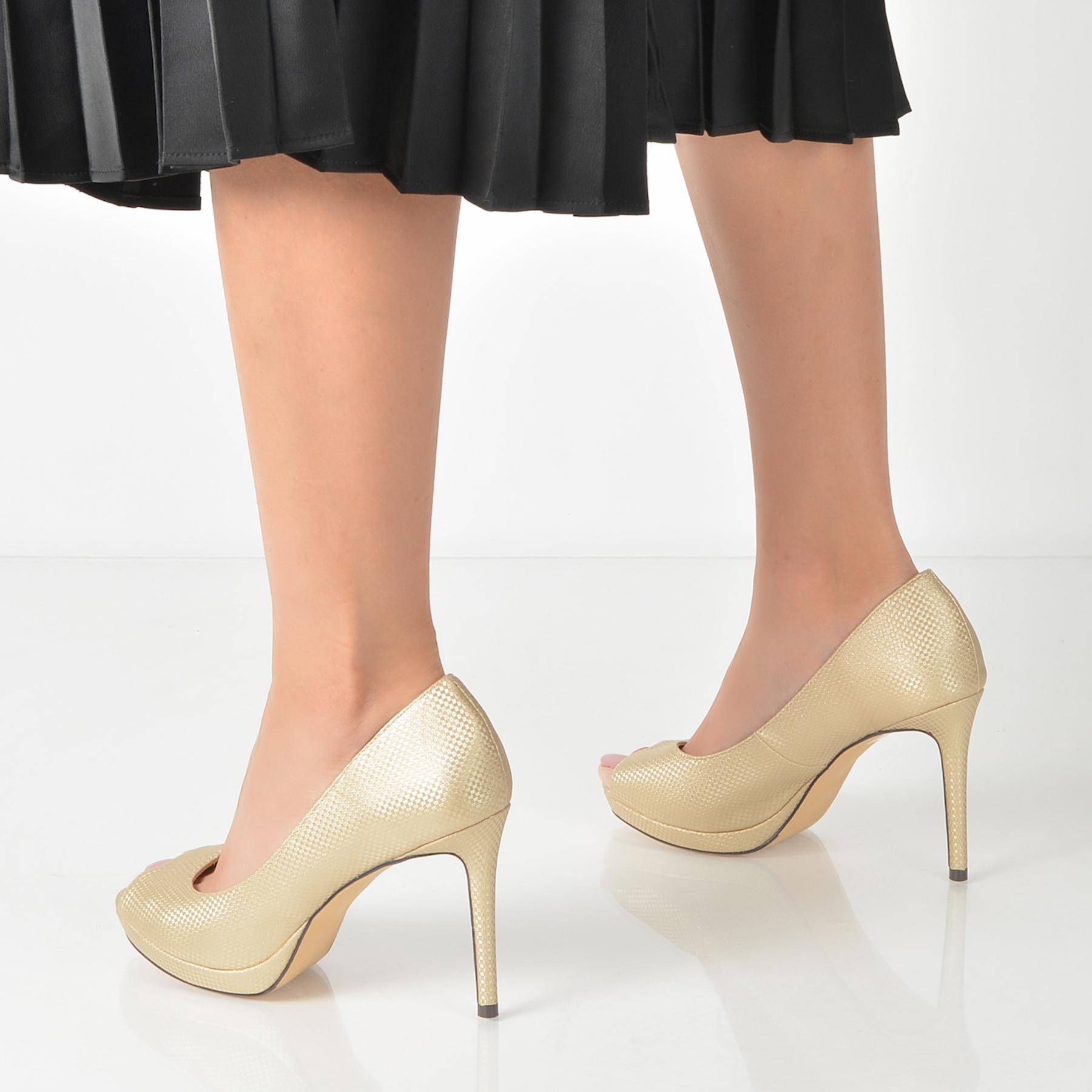 Pantofi Epica Aurii, R9313, Din Piele Ecologica