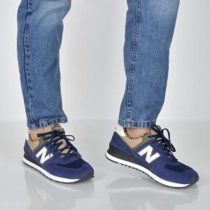 Pantofi sport NEW BALANCE bleumarin, Ml57, din piele intoarsa si material textil