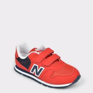 Pantofi sport pentru copii NEW BALANCE rosii, Yv500, din piele ecologica